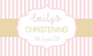 Pink & Gold Stripe Christening Chocolate Bar Wrapper